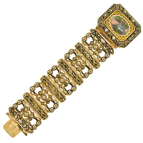 Early Victorian 18kt Swiss Enamel Bracelet w/Locket