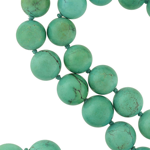 Vintage Chinese Large Turquoise Bead Necklace w/ Silver Gilt Clasp 25""