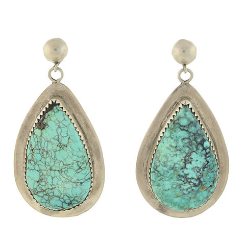 Vintage American Indian Sterling & Turquoise Teardrop Earrings