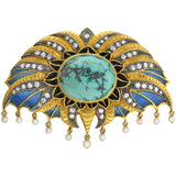 Art Deco Large 18kt/Sterling Plique-a-jour, Turquoise, Diamond + Pearl Pin