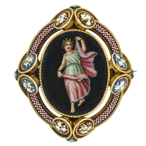 Victorian 18kt Micro Mosaic Pin/Locket with Grecian Woman Motif