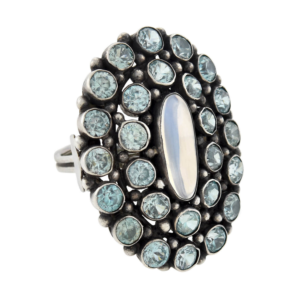 Early Retro Large Sterling Blue Zircon + Moonstone Cluster Ring