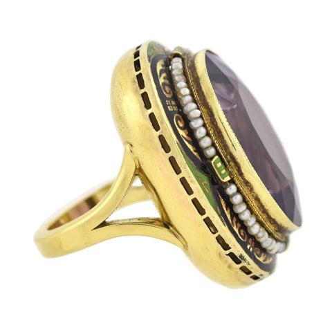 Art Deco Large 14kt Enameled Amethyst + Seed Pearl Ring