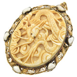 Arts & Crafts Large 14kt Carved Ivory + Freshwater Pearl Mythical Creature Pin/Pendant