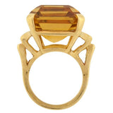 Large Retro 14kt Citrine Cocktail Ring 30ct