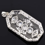 Art Deco Platinum Diamond Filigree Pendant 3.50ctw