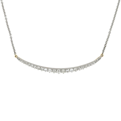 Edwardian 18kt/Platinum Diamond Sliver Crescent Pendant Necklace 3.50ctw