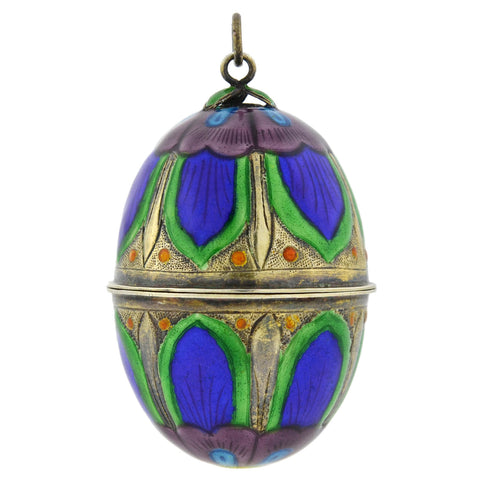 Victorian Large Sterling Gilt Enameled Egg Pendant w/ Interior Compartment