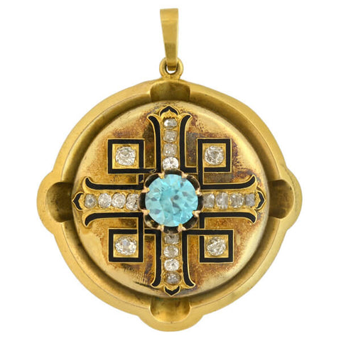 Victorian 15kt Natural Blue Zircon + Diamond Maltese Cross Pendant