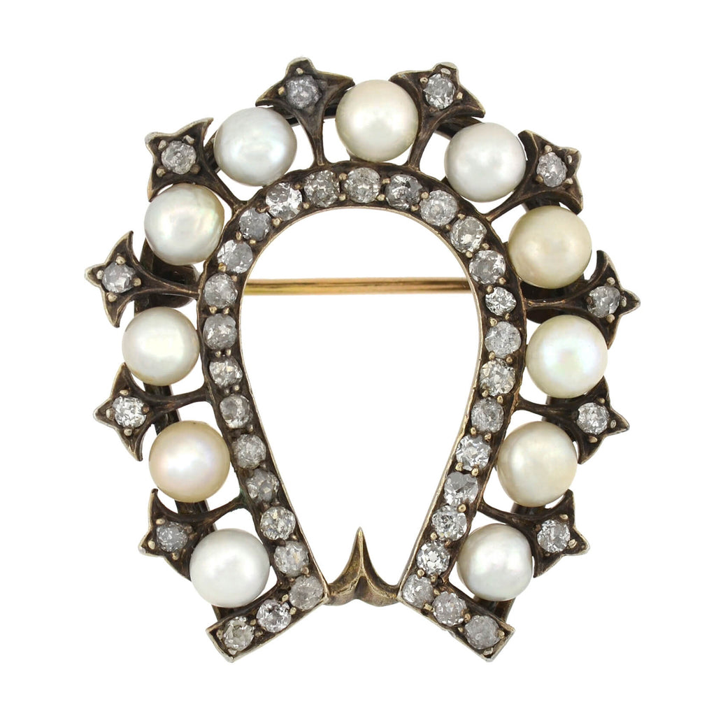 Early Victorian 14kt/Sterling Natural Pearl + Diamond Horseshoe Pin 2.00ctw