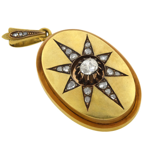 Victorian 18kt Rose Cut Diamond Starburst Locket 1.25ctw