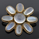 Late Art Deco Large Sterling Gilt Moonstone Flower Pendant