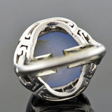 Late Art Deco 18kt Diamond & 12ct Star Sapphire Ring