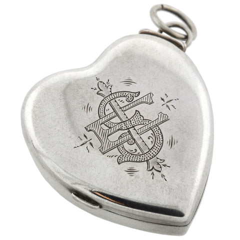 Victorian Large Sterling Silver Heart Box Locket