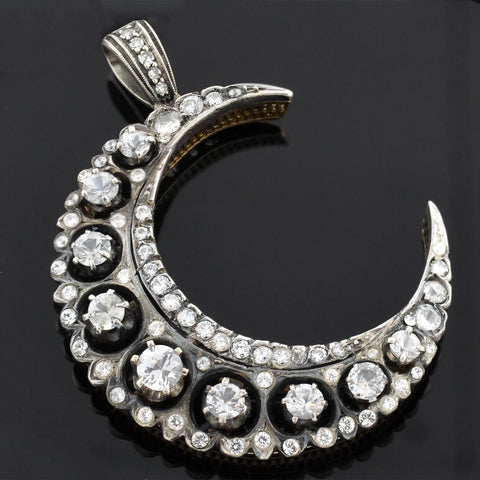 Victorian Large 14kt/Sterling White Sapphire + French Paste Crescent Pendant