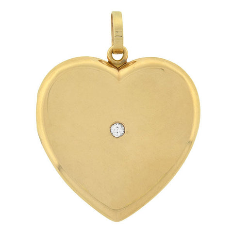 Late Victorian Large 14kt Diamond Heart Locket