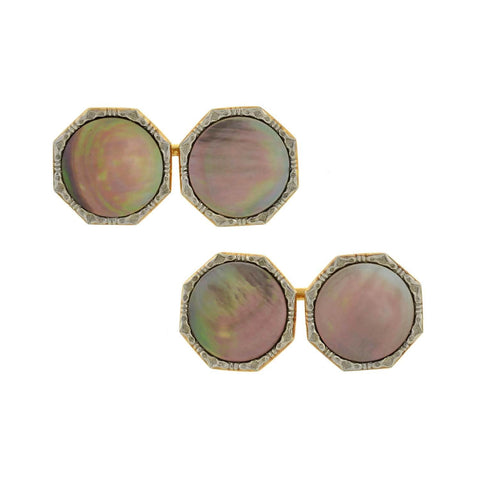 LARTER Edwardian 14kt/Plat. Black Mother of Pearl 9-Piece Cufflink Set