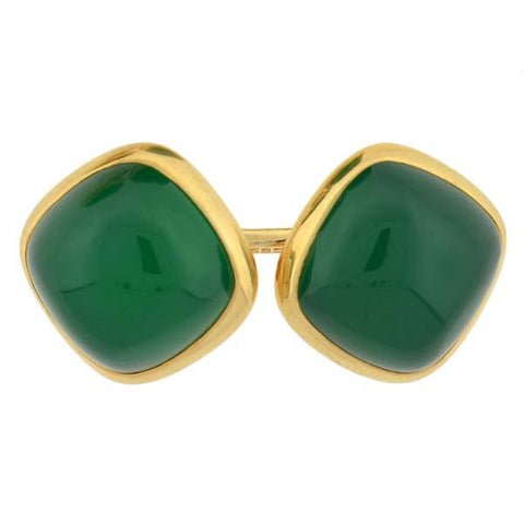 LARTER & SONS Late Art Deco 14kt Chrysoprase Cufflinks