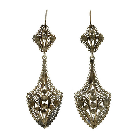 Retro Silver Cannetille Wirework Earrings