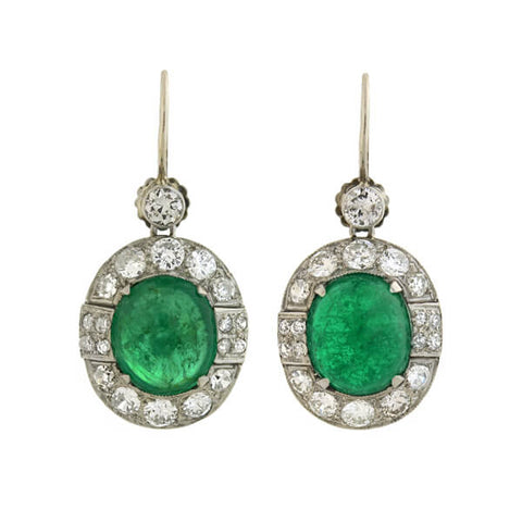 Late Art Deco 18kt Emerald Diamond Drop Earrings