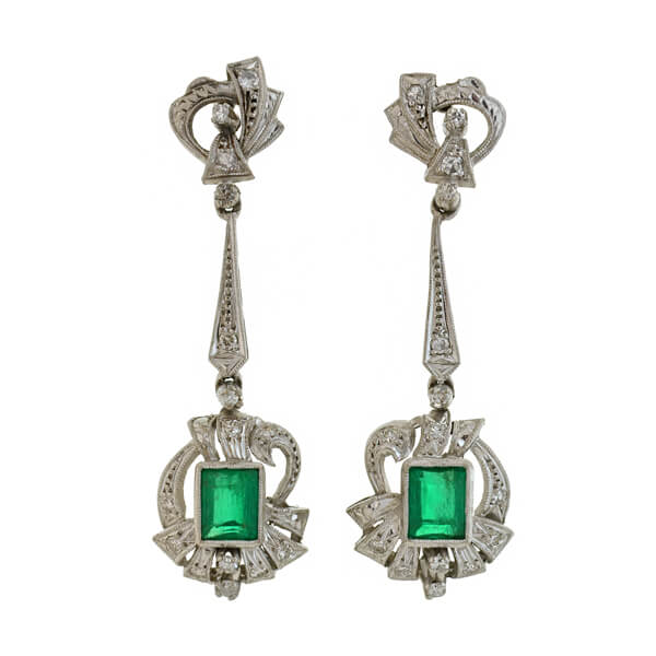 Retro Platinum Emerald + Diamond Earrings