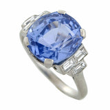 Art Deco Platinum Sapphire & Diamond Ring 7.11ct