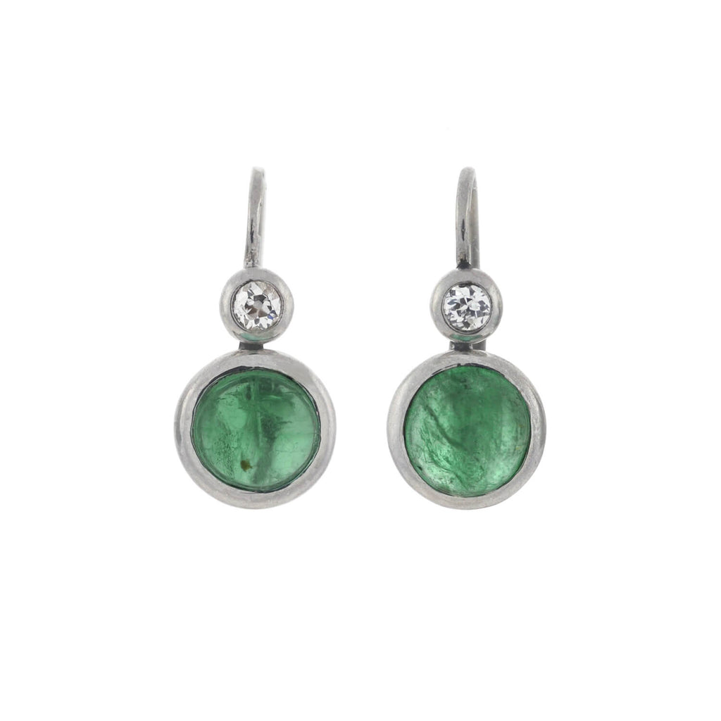 Art Deco Delicate 14kt Emerald Cabochon + Diamond Earrings