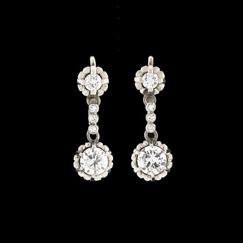 Late Art Deco Platinum Diamond Dangle Earrings 1.75ctw