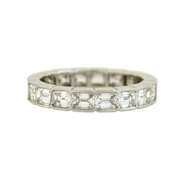 Late Art Deco Platinum Emerald Cut Diamond Eternity Band 3.00ctw