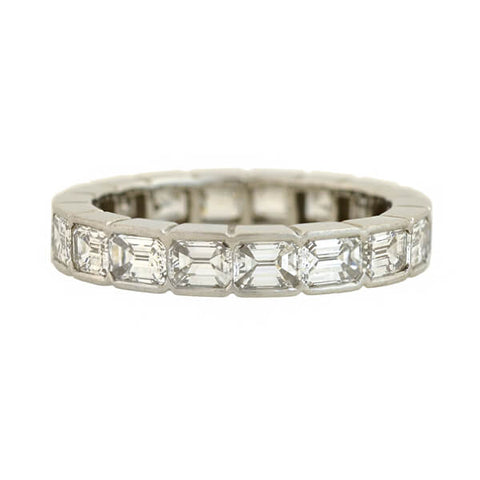 Late Art Deco Platinum Emerald Cut Diamond Eternity Band 3.60ct