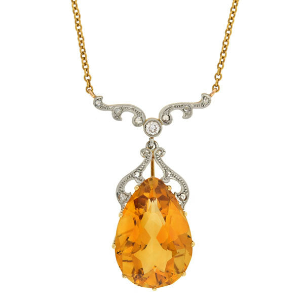 Late Art Deco Platinum/18kt 12ctw Citrine Diamond Necklace