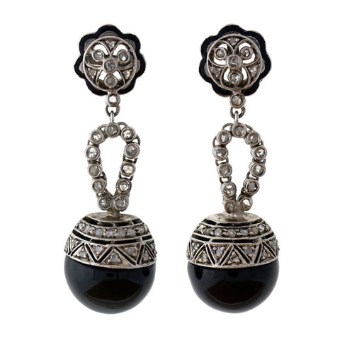 Art Deco 14kt Onyx & Rose Cut Diamond Earrings