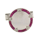 Late Art Deco Platinum Calibrated Ruby Diamond Cufflinks