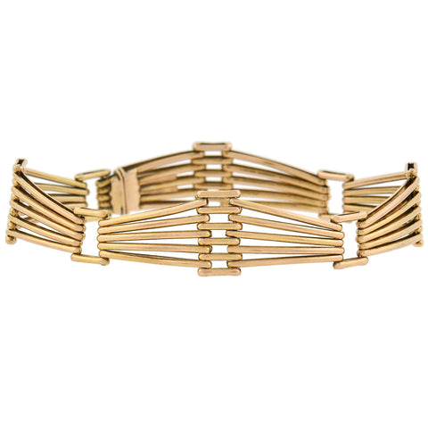 Late Victorian 14kt Rose Gold Wirework Gate Link Bracelet