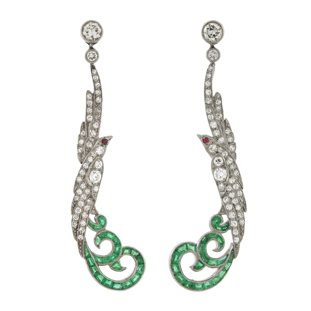 Art Deco Platinum Diamond, Emerald + Ruby Exotic Bird Earrings 2.00ctw