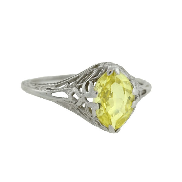 Art Deco 14kt Lemon Quartz Floral Filigree Ring