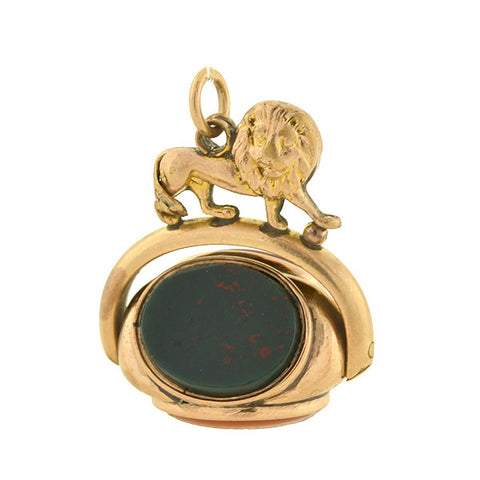 "Victorian 9kt ""Lion Motif"" Multi Agate 3-Way Spinner Fob"