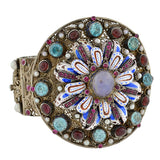 Arts & Crafts Era Hungarian Gilt Gemstone Enamel Bracelet