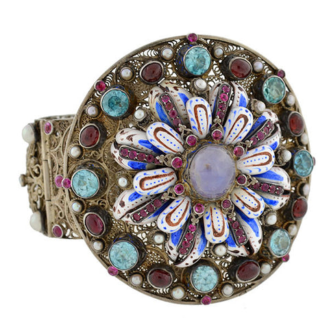 Arts & Crafts Hungarian Gilt Gemstone Enamel Bracelet