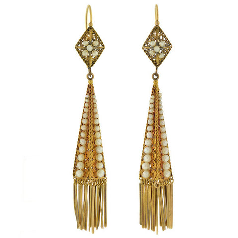 Victorian 14kt Natural Pearl & Fringe Filigree Earrings