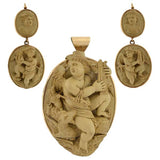 Victorian 14kt Carved Lava Cameo Earring & Pendant Set