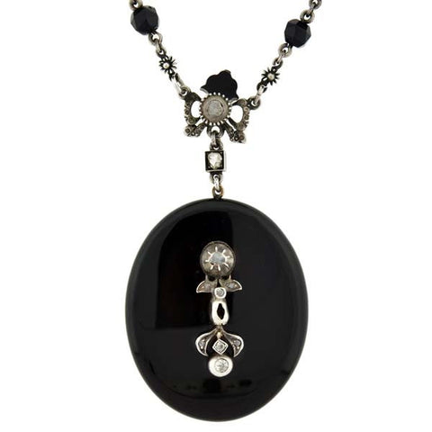 Victorian Onyx Rose Cut Diamond Locket & Chain