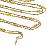 Victorian Long 10kt Textured Gold Link Chain Necklace 54