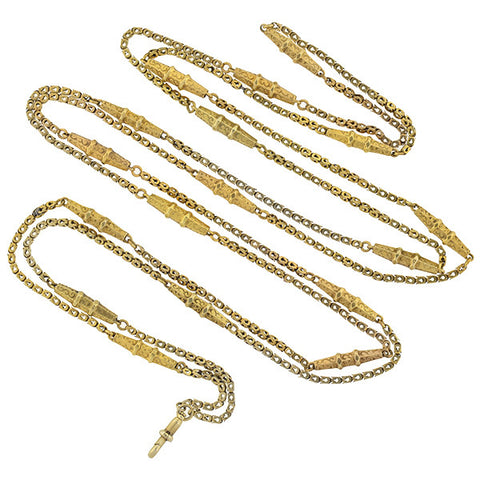 Victorian Long 10kt Textured Gold Link Chain Necklace 54""