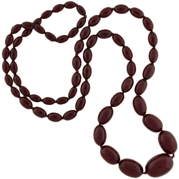 Art Deco Graduated Cherry Amber Bakelite Bead Necklace 40""