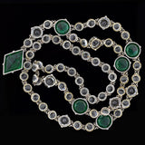 Late Art Deco Sterling Faceted Green & Clear Crystal Necklace 31