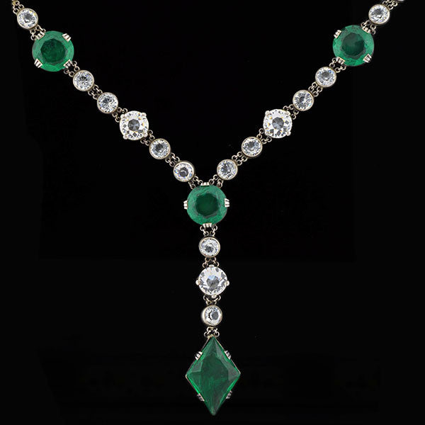Late Art Deco Sterling Faceted Green & Clear Crystal Necklace 31""