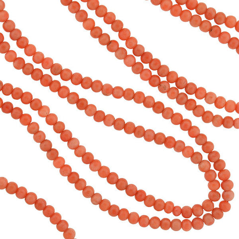 Victorian Long Coral Bead Necklace w/ 14kt Etruscan Clasp 62""