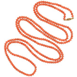 Victorian Long Coral Bead Necklace w/ 14kt Etruscan Clasp 62