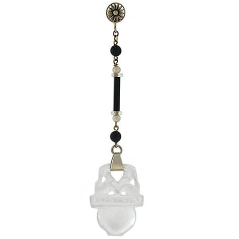 Art Deco 14kt Carved Rock Crystal, Pearl & Onyx Earrings